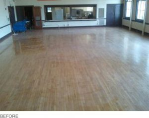 Demonstration of wood floors before cleaning and sealing
